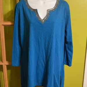 XL Izod blue top with beads